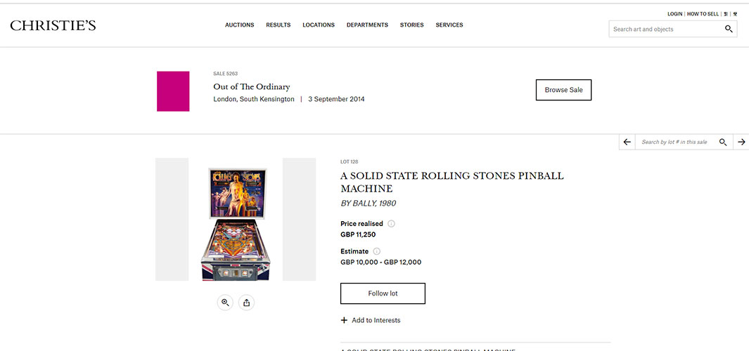Rolling Stones Pinball Machine to buy and sell for sale uk